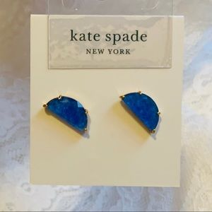 NEW ♠️ KS NY Blue Stone Half Moon Stud Earrings